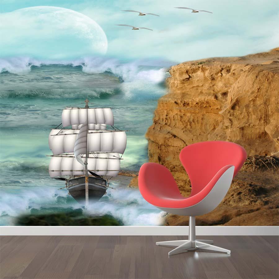 Tranh vải dán tường phong cảnh cửa sổ cảnh biển Y3552 Tranh vải 3d dán tường cao cấp