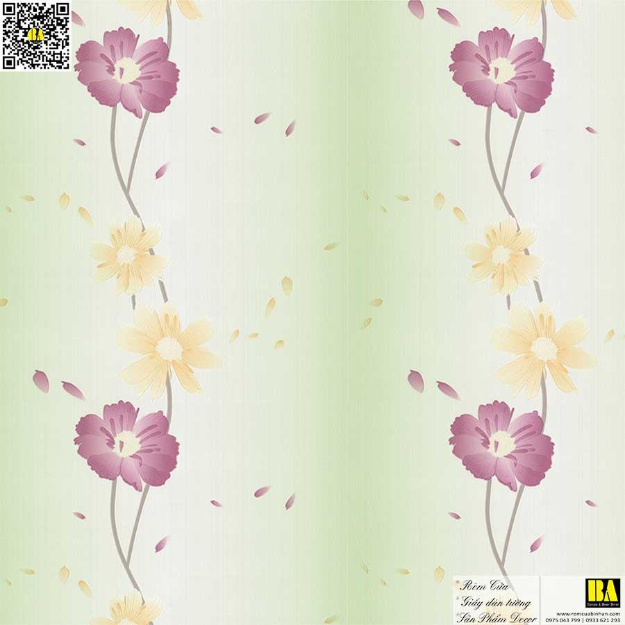 Vải dán tường họa tiết hoa lá | Vải dán tường sợi thủy tinh cho nhà ở, biệt thự, khách sạn